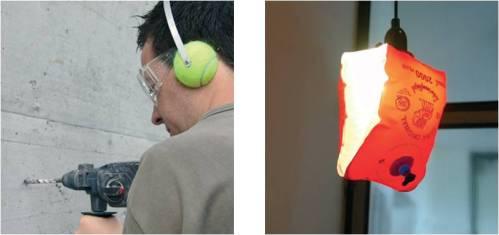 Le casque anti-bruit et le brassard luminaire